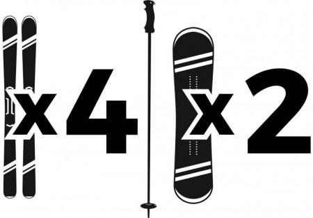 4 par ski/ 2 snowboard